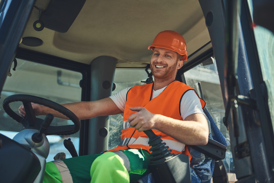 Construction Vehicle Worker Smiling