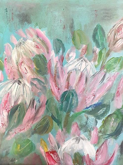 """""""Proteas on turqoise"""" 45 x 45cm"""
