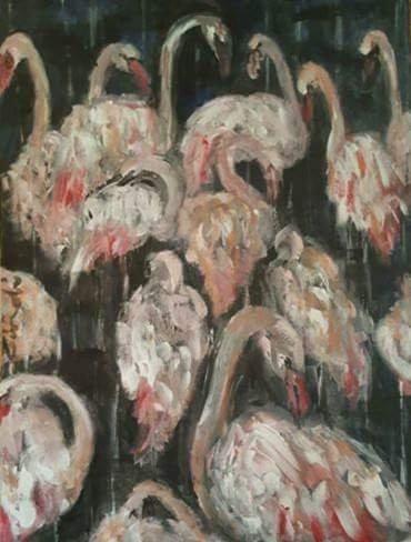 """Flamingos on blue"""