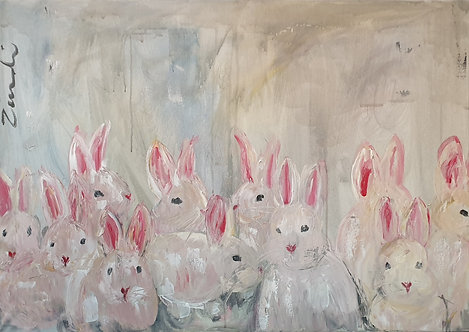 Bunny family on blue