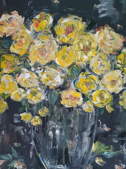 """Yellow roses on black""  60 x 90cm"