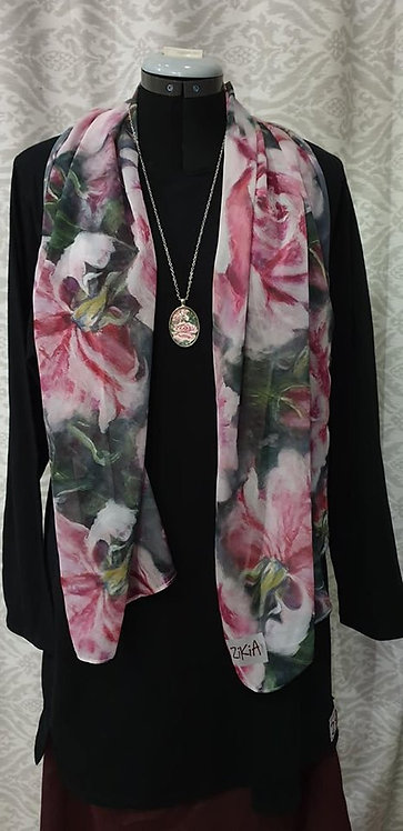 Pink rose art printed scarf