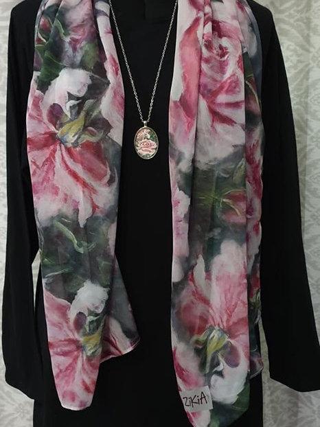 Pink rose art printed scarf