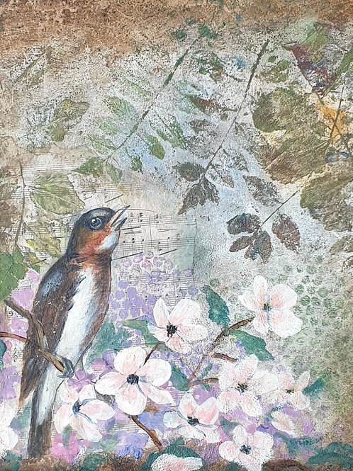 """""""Birds and blossoms 2"""" 45 x 45cm"""