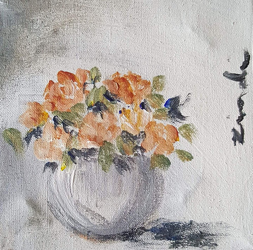 """Peach roses in grey"""