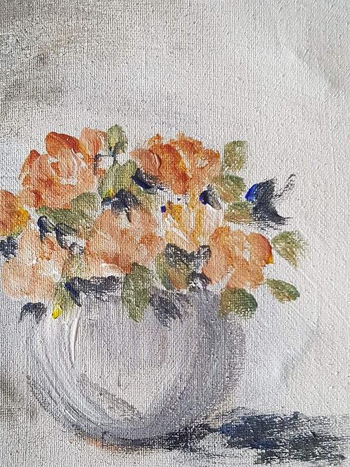 """Peach roses in grey"""