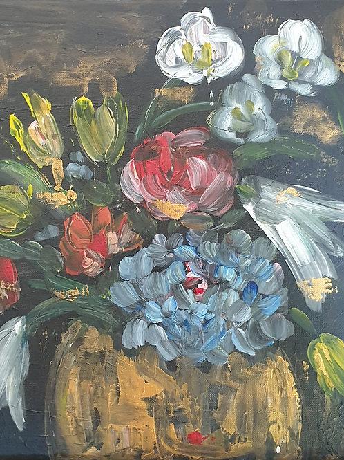 """Floral on dark"" 30 x 30cm"