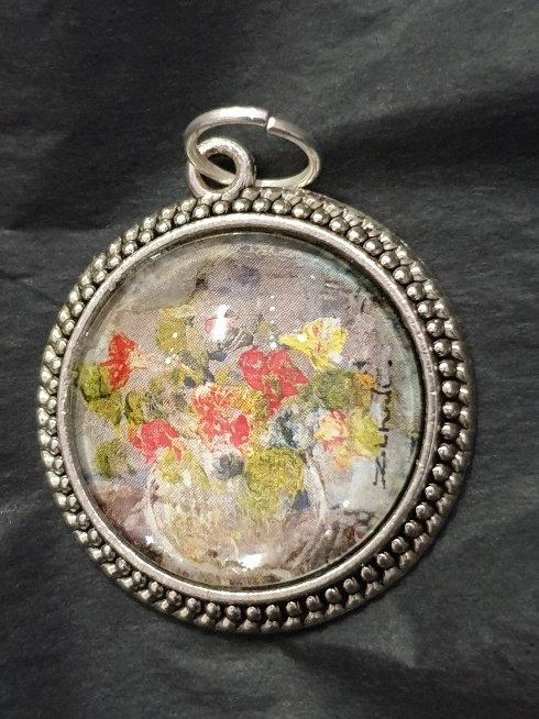 Nasturtion art glass pendant