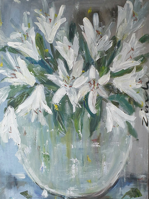 """Lillies on blue"" 84 x 60cm"