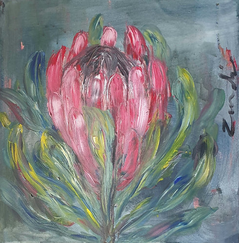 Pink protea with green 2