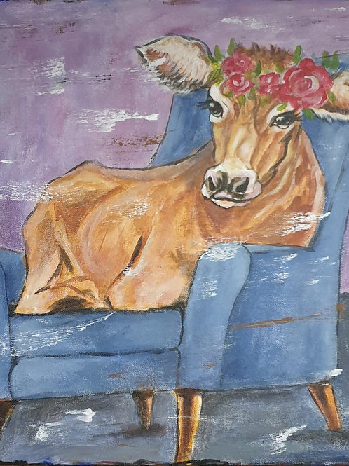 """""""Funky relaxing cow 1"""" 45 x 45cm"""