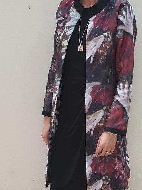 """"""" Floral Zindi art print lined coat"""""""