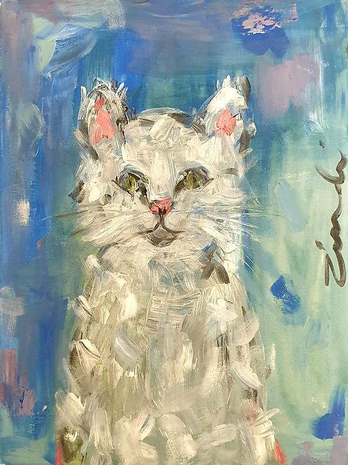 """""""Cat on blue"""" 30 x 40cm"""