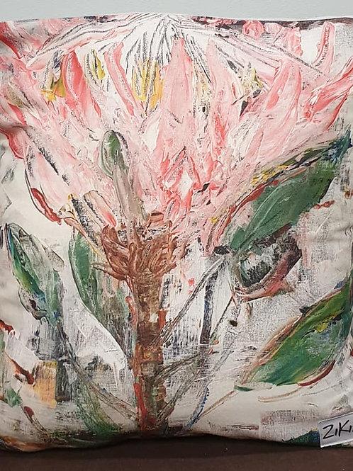 Peach pink Protea art print cushion