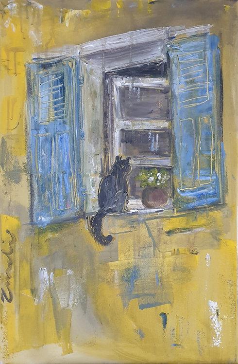 Cat on yellow 1