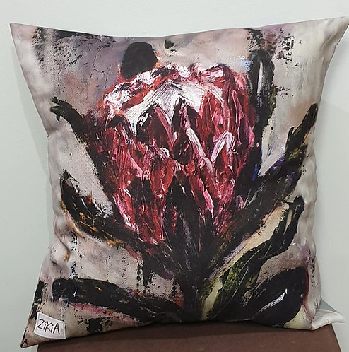 Wine red protea art print cushion