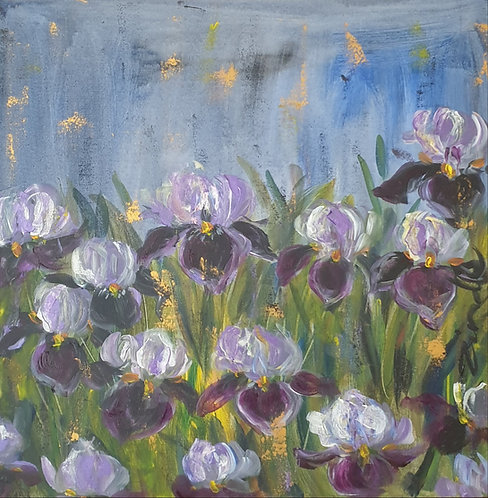 Irises on blue