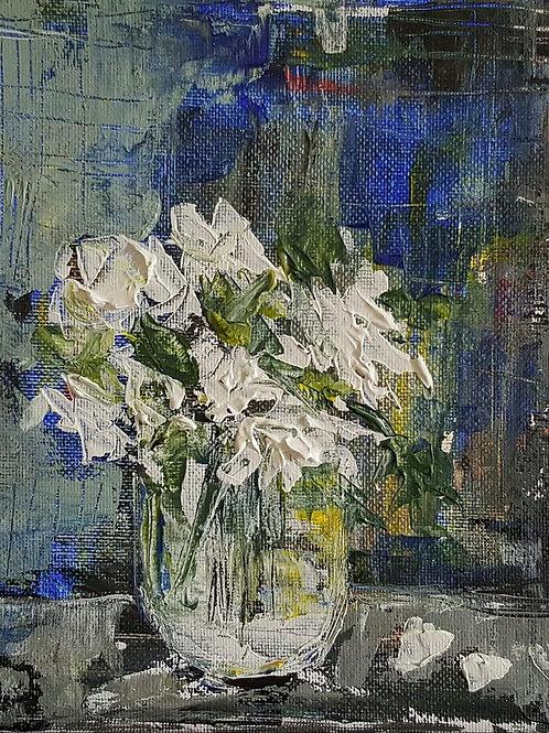 """""""White roses on blue"""""""