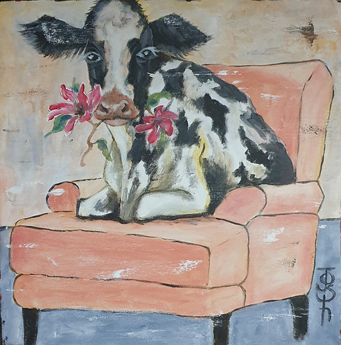 """""""Funky relaxing cow 4"""" 45 x 45cm"""