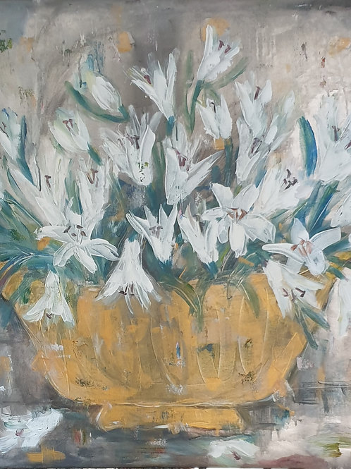 """""""Lillies in gold"""" 80 x  80cm"""