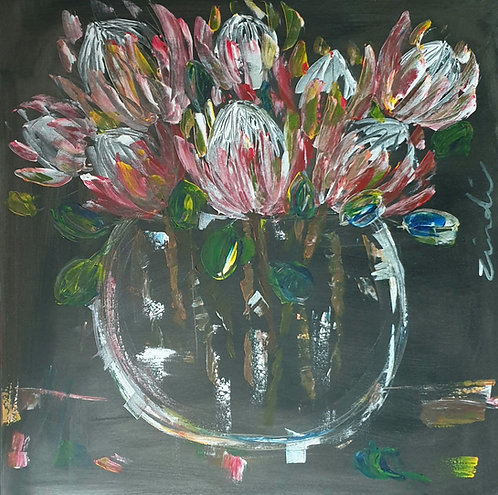 """Proteas on dark"" 80 x 80cm"