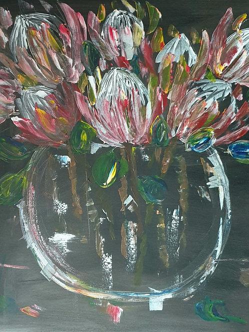 """Proteas on dark"" 80 x 80cm"