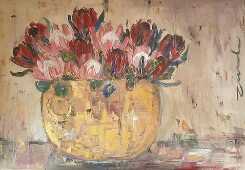 """Mixed Proteas in copper"" 70 x 100cm"