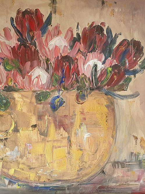"""""""Mixed Proteas in copper"""" 70 x 100cm"""