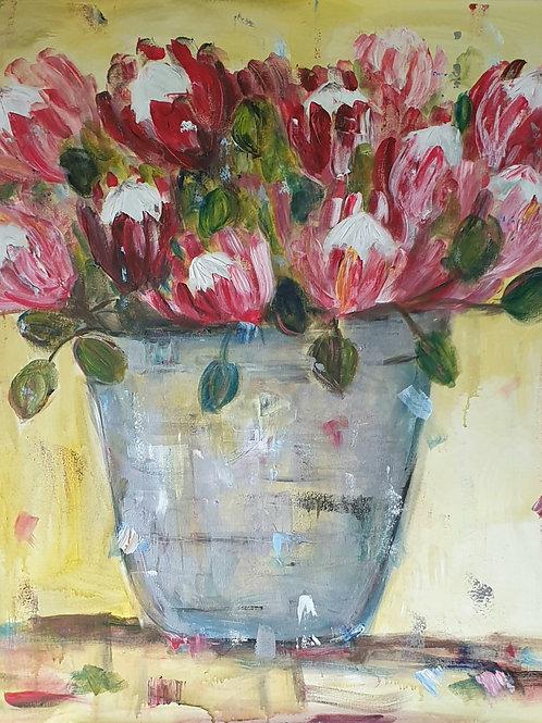 """""""Proteas on yellow"""" 90 x 90cm"""