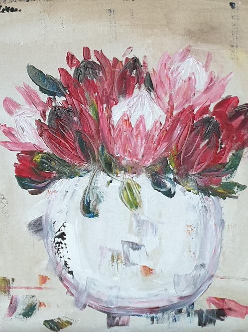 """""""Proteas on cream 2"""" 45 x 45cm"""