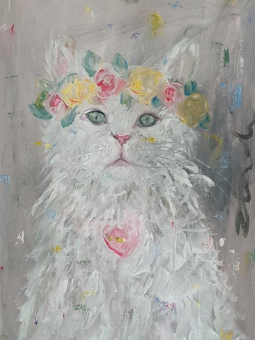 """""""Floral cat 2"""" 40 x 60cm"""