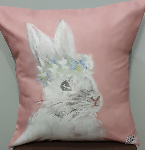 Pink up ear bunny art print cushion