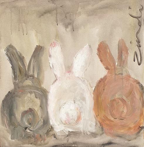 """""""3 bunnies"""" 45 x 45cm"""
