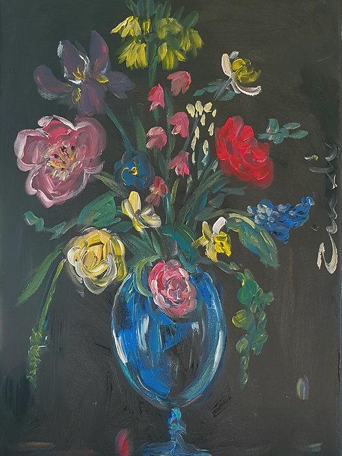 """Small flowers on dark"" 40 x 60cm"