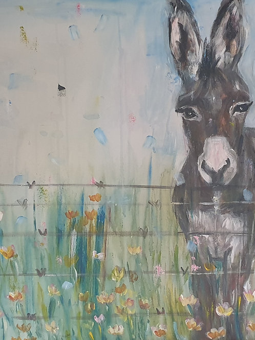 """Donkey and birds"" 70 x 100cm"