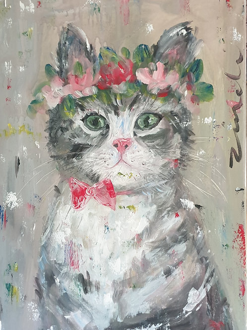 """""""Floral cat 1"""" 40 x 60cm"""