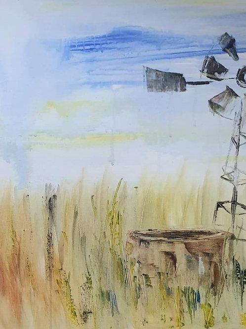 Windmill and dam