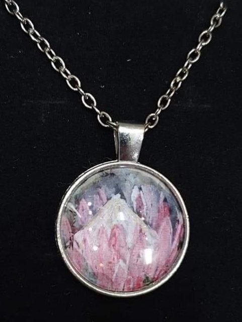 Zindi art pink protea pendant