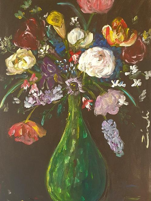 """""""Flowers in green"""" 60 x 84cm"""