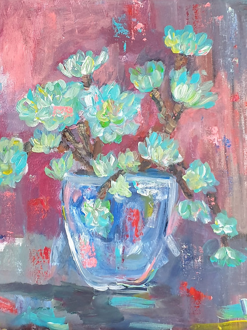 """""""Succulent in pot"""" 45 x 45cm"""