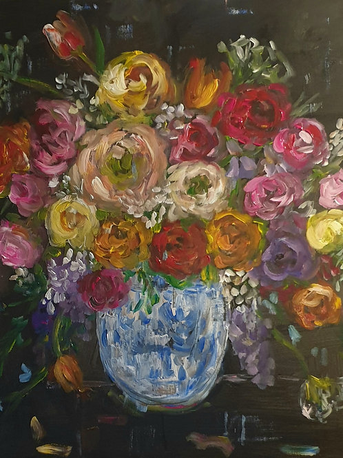 """Mixed flowers on dark"" 80x 80cm"