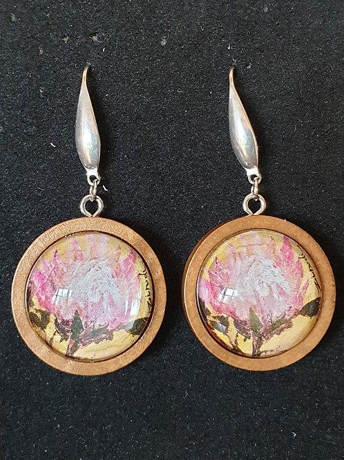 Pink on orange protea art by Zindi earrings