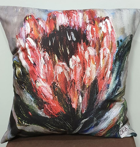 Pink protea on grey art print cushion