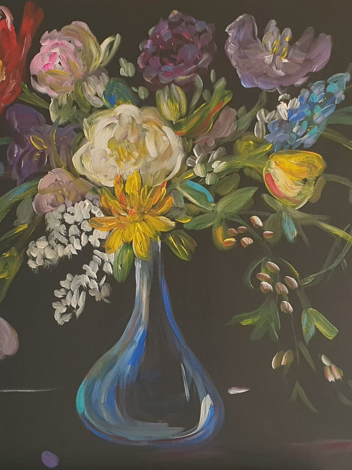 """""""Floral in blue glass"""" 70 x 100cm"""