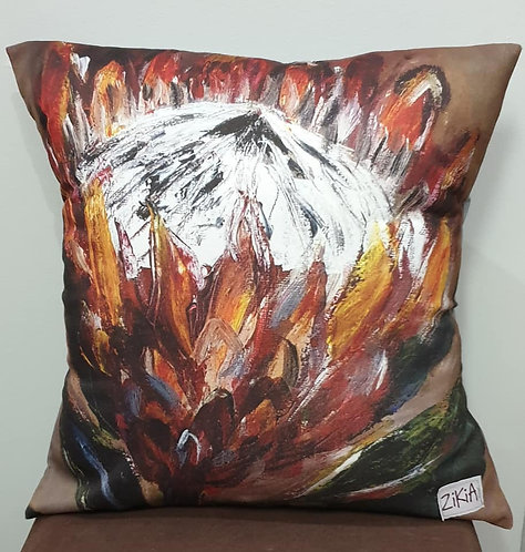 Brown protea art print cushion