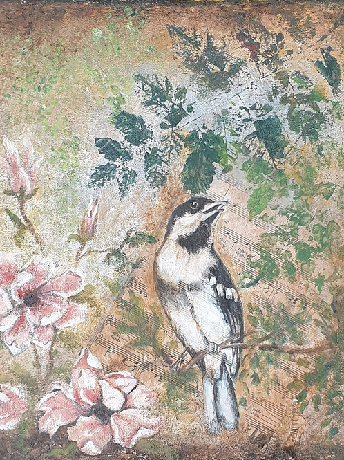 """""""Bird and blossoms 1"""" 45 x 45cm"""