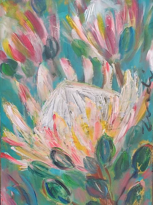 """""""Colourful  protea 1"""" 40 x 60cm"""