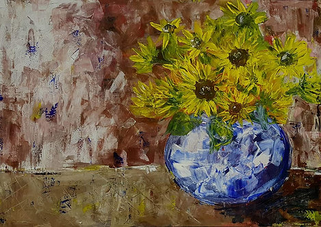 """Sunflowers in blue"""