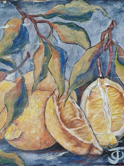 """""""Lemons on blue 2"""" 45 x 45cm"""