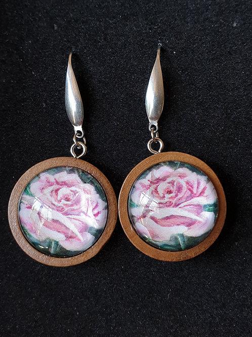 Pink rose art by Josh earrings
